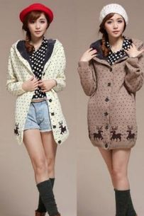 Ladies winter single breasted long sections of the fawn hooded sweater coat plus velvet thickening