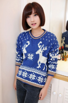 Women's New Retro snow deer head sets loose backing sweater women sweater coat