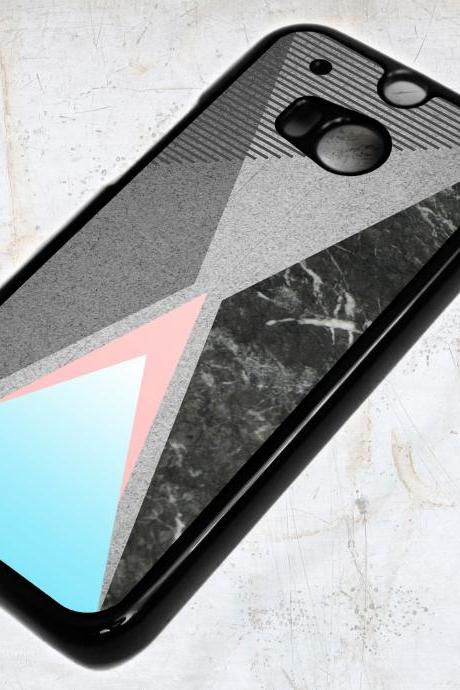 HTC ONE M8 Abstract Geometric Marble Texture Triangles Case