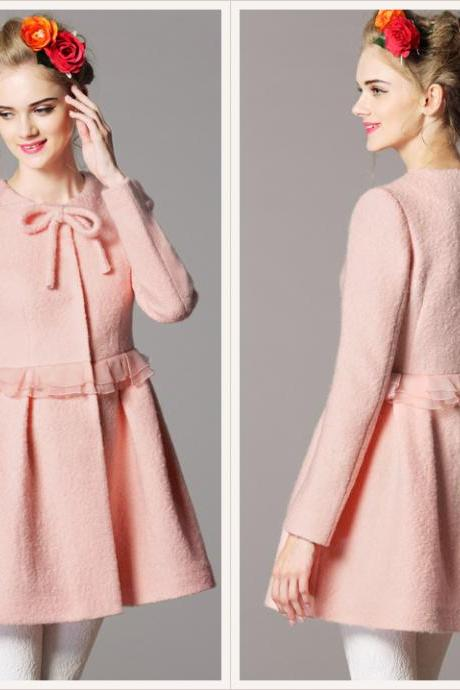 Pink High Waisted Women's Wool Coat Overcoat Cashmere Outerwear Winter Clothes