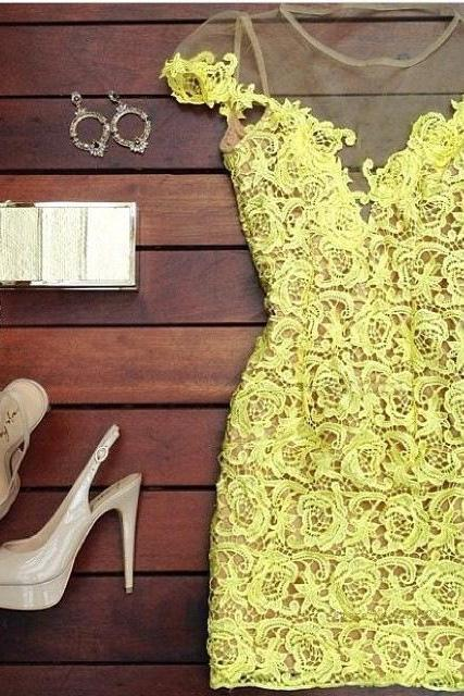Hollow Perspective Yellow Lace Dress
