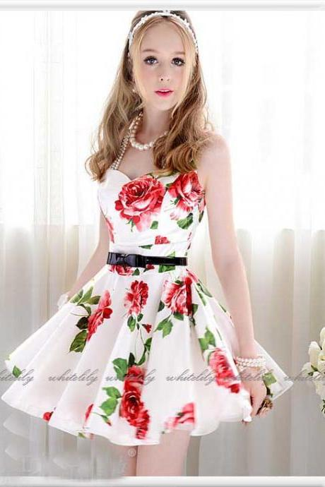 Belted Rosy Dress In White
