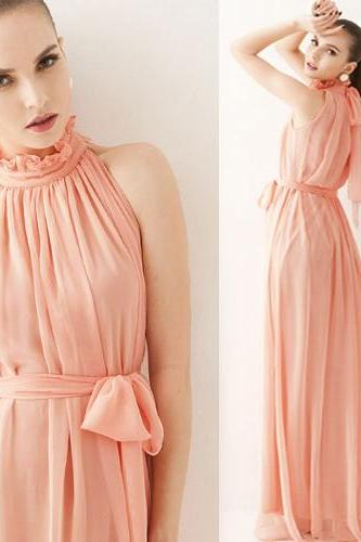 Elegant Chiffon Ruffled Sleeveless Dress In Pink