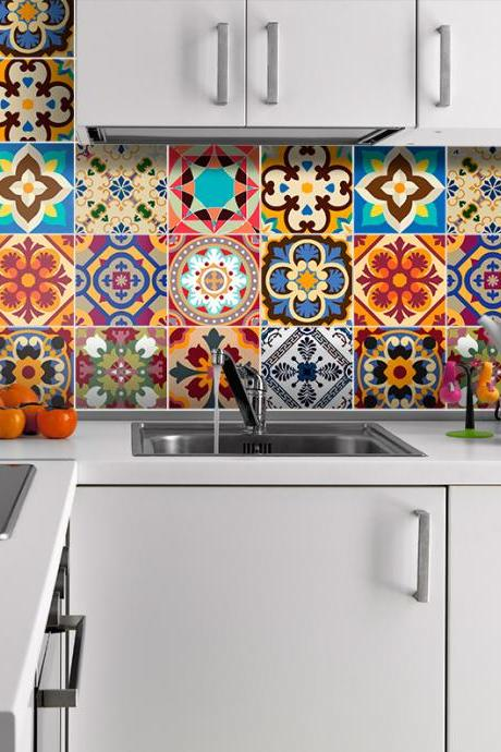 Traditional Talavera Stickers Decor for Kitchen Remodelation (Pack with 48) 4 x 4 inches