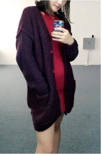 Loose cardigan sweater jacket #ER120205