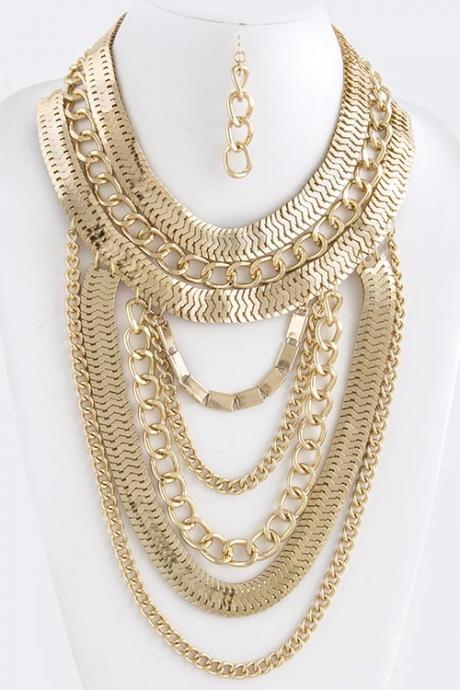 Gold Chunky Chain Necklace, Gold Statement Necklace, Thick Gold Chain
