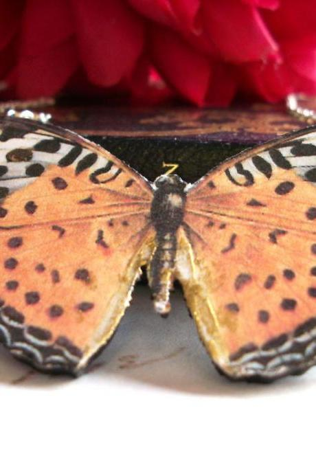 Setting Sun Wooden Butterfly Necklace Pendant