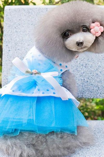 Dot Gauze Dog Dress/Pet Clothes