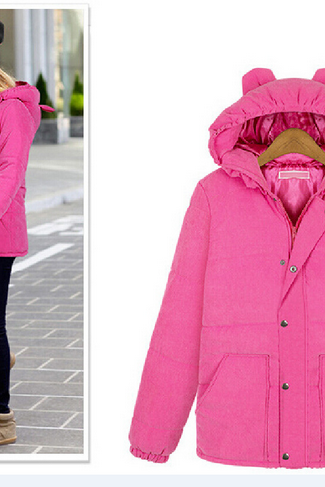 Large size women in the long section of thick jacket coat Europe long sleeve hooded fur collar coat