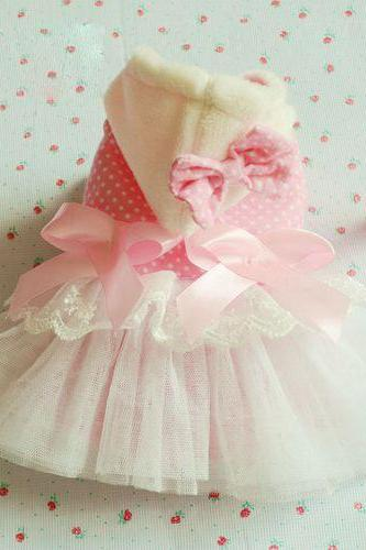 Nice Pink Cotton Pet Dress/Pet Clothes