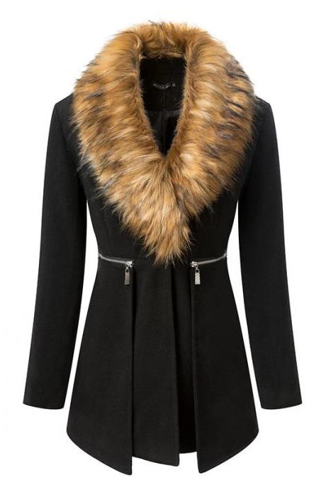 Fur Neck Plus Size Coat For Women
