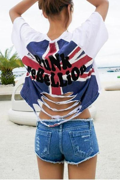 Women's Union Jack Printed Crop Top With Cut Out Back
