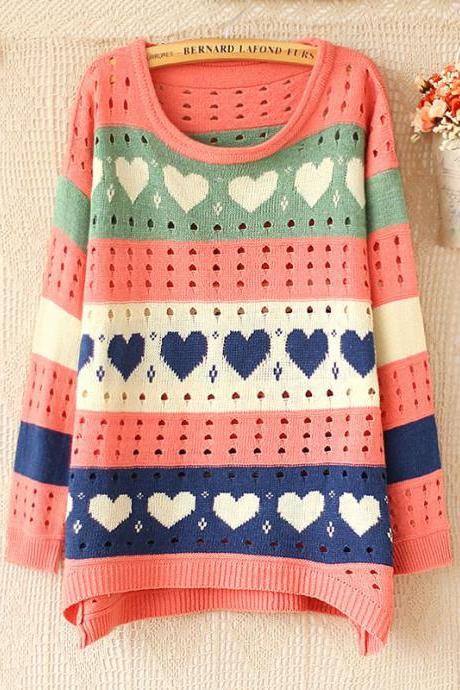 Fashion PINK Heart Hollow Out Sweater