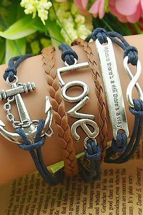 Anchor Charmed Bracelet