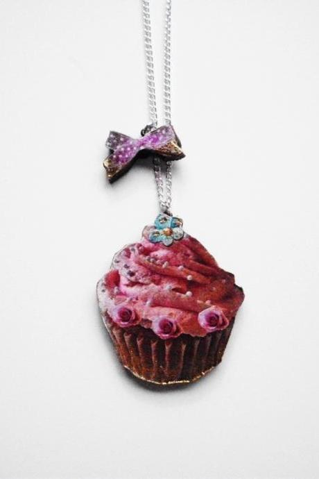 Cupcake Necklace, Bow Necklace, Wooden Necklace, Cupcake Jewelry, Pink Frosting