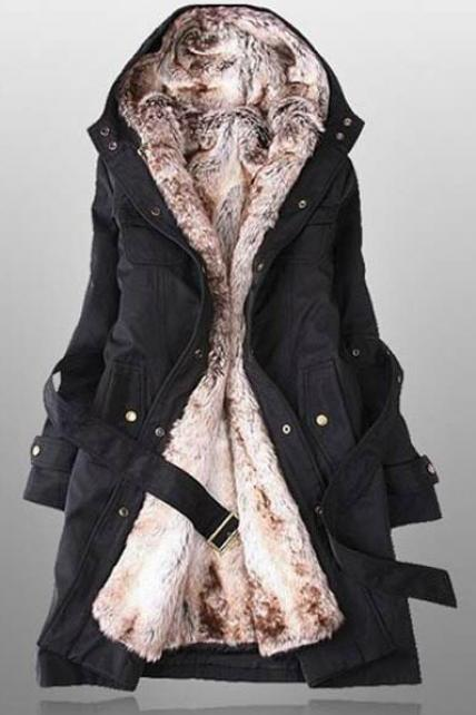 Black Faux Fur Lined Warm Winter Coat