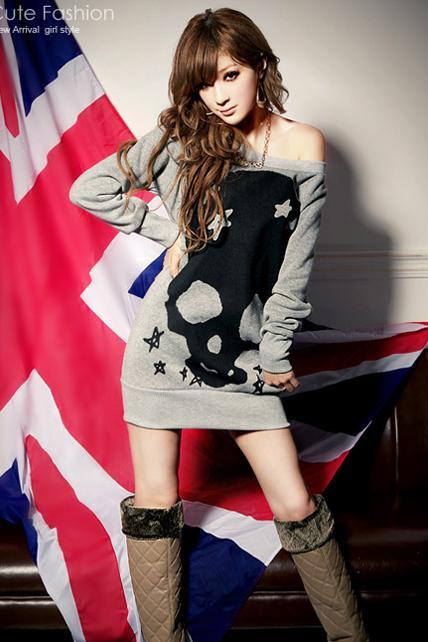 Free Shipping Casual Long Sleeve Skull Head Cotton Sweats