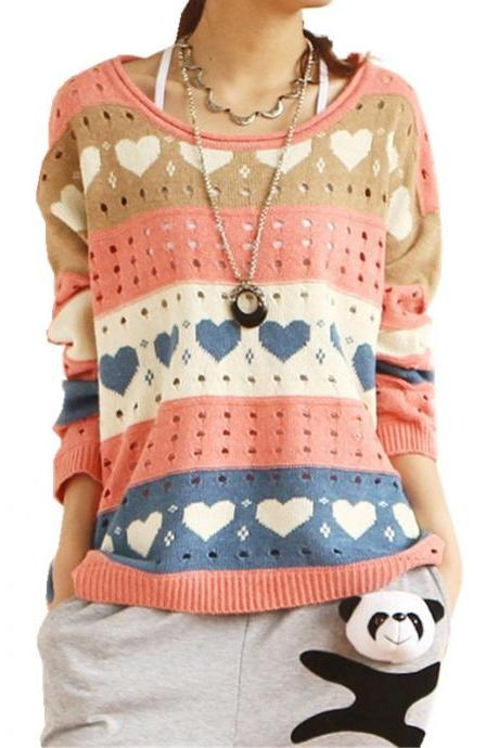 Contrast Color Love Hollow-Out Rainbow Striped Loose Sweater