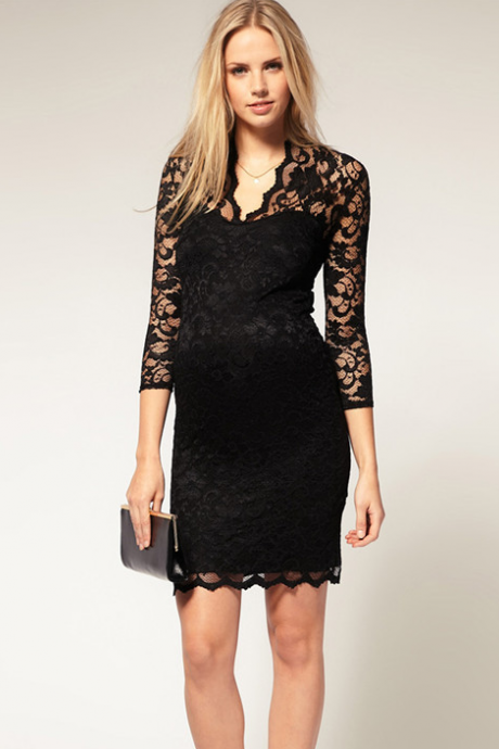 Bag Hip Lace Dress Female V Led Seven Quarter Sleeve Lace Sexy Slim Skirt