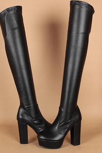 High heels knee high boots and waterproof Martin boots