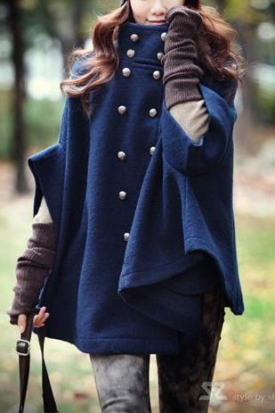 Fashion Double-Breasted Bat Sleeve Cape-Style Coat