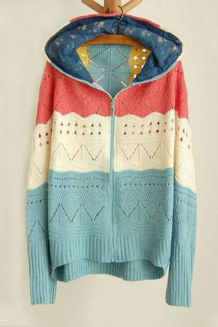 Cool Stripe Hooded Loose Bat Sleeve Knit&Cardigan