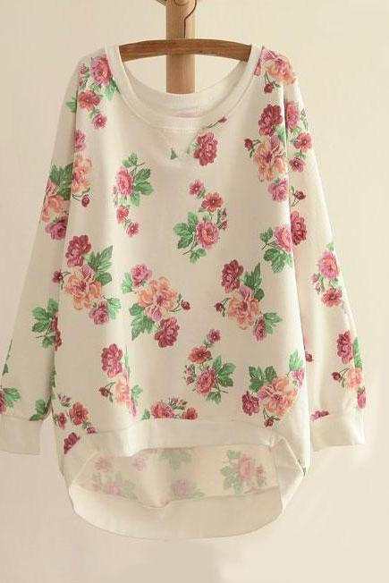 Fashion Bat Sleeve Floral Round Neck Sweater