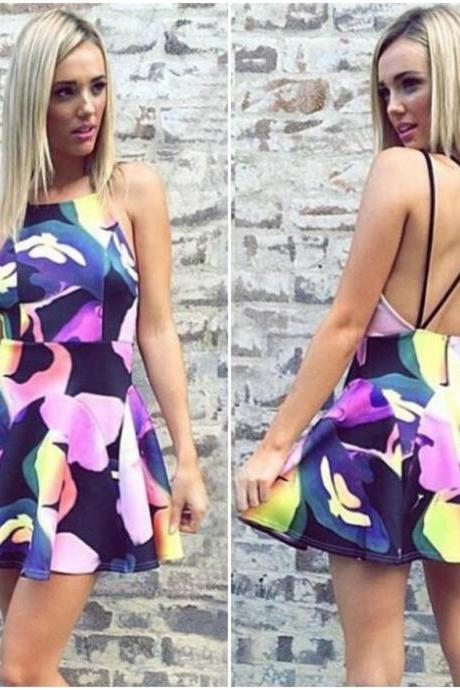 Cute Cross Back Spaghetti Strap Floral Printed Dress