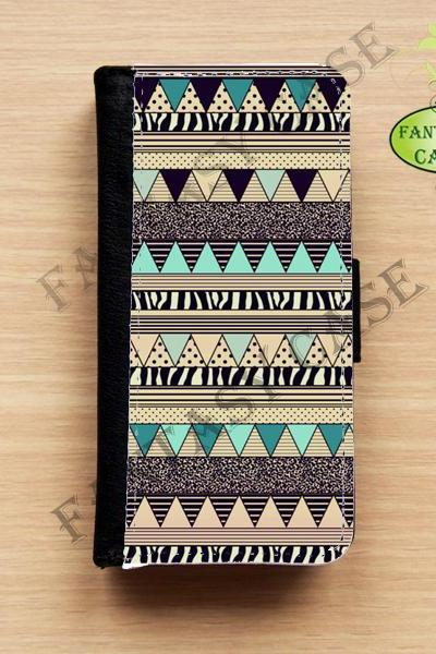 Vintage Aztec - iPhone 5 Wallet Case, Leather iphone 5s case, iPhone 6 Wallet Case, Leather iPhone 6 Case, Flip Case