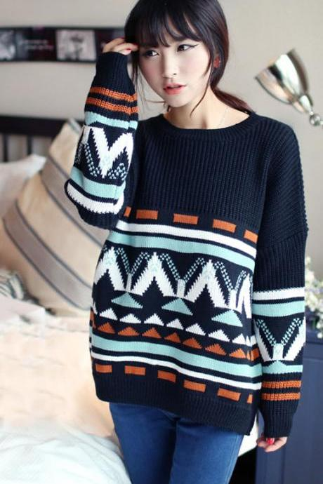 Geometric Bat Sleeve Sweater
