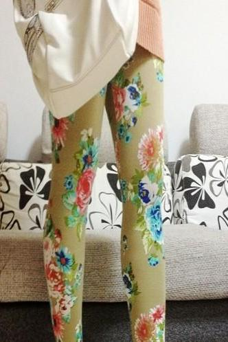 Nice Brown Floral Print Graffiti Leggings