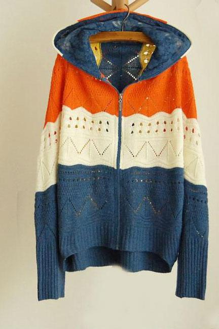 Rainbow Striped Hollow Out Loose Bat Sleeve Knit&Cardigan