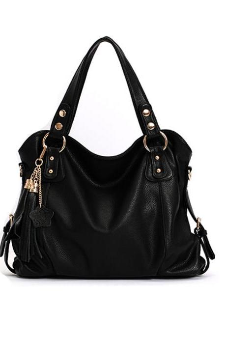 Elegant Tassel Black Handbag & Shoulder Bag
