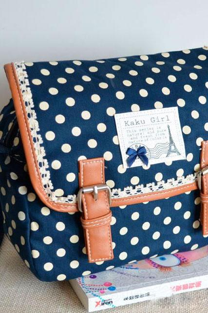 Cool Nice Lace Polka-Dot Messenger Bag(Out of stock)