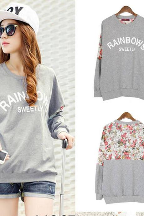 Fashion Lace Flower Gray Sleeved Sweater&Shirt