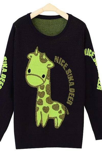 Giraffe Letter Pattern Long Sleeve Sweater