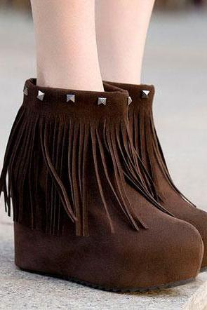 Fringed Thick Wedge Heel Shoes F6UY5XZ83NTF6CTENUKGG