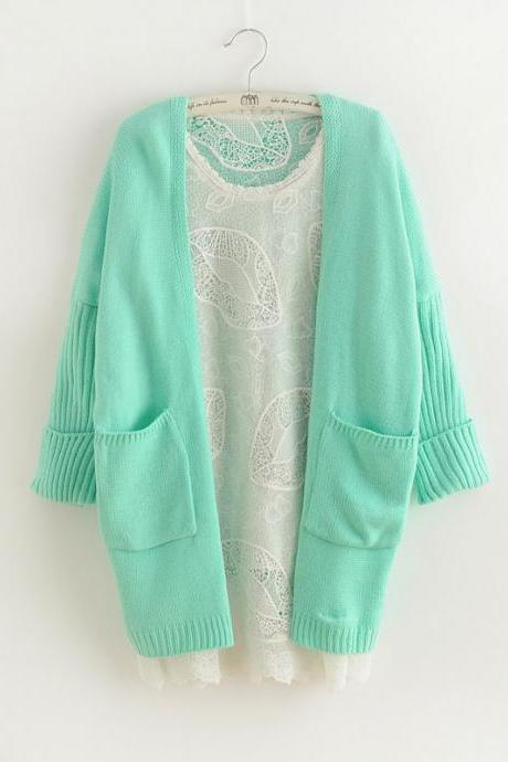 Mint Green Bat Sleeve Korean Loose Knit Cardigan