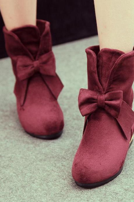 Bow Knot Female Ankle Boots