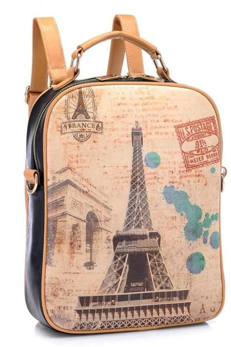 Retro Eiffel Tower Graffiti Backpack 4DWX6XTQWKJ841W6LYEXC