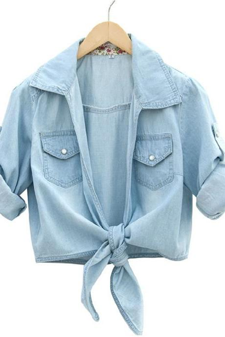 Washed Denim Half Sleeve Shirt