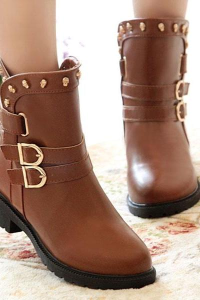 Fashion Skull Buckle Low-Heeled Rivet Boots