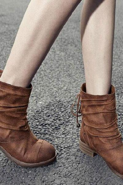 Irregular Fold Frosted Leather Boots