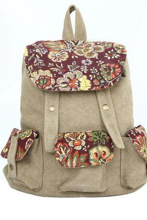 Khaki Fresh Flower Printing Canvas Backpack