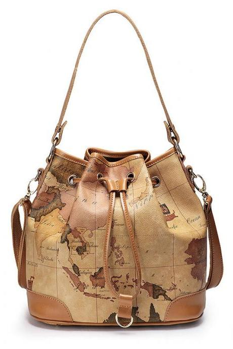 New Fashion World Map Handbag & Shoulder Bag