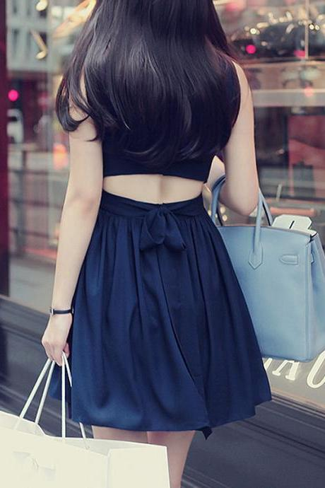 Nice New Pearl Chiffon Halter Straps Bow Sleeveless Dress