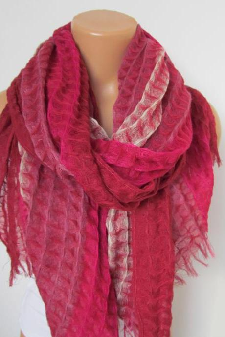 Pink Fuchsia and Cream Long Scarf -Shawl Scarf-New Season-Necklace-Cowl- Neckwarmer- Infinity Scarf-Mother's Day Gift
