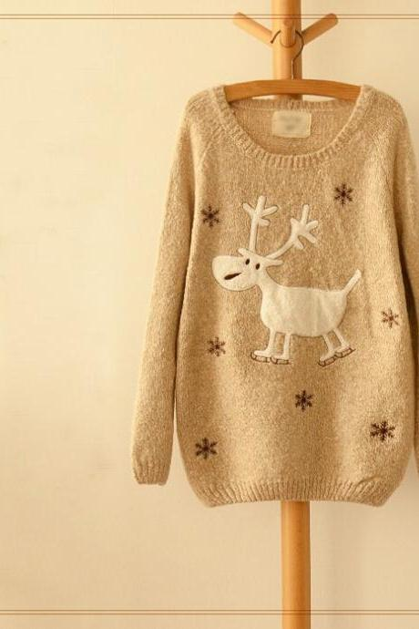 Snowflake Christmas Deer Embroidery Sweater