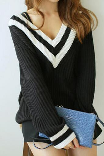 Women's V Neck Long Sleeve Contrast Color Knitwear Loose Pullover Jumper Sweater