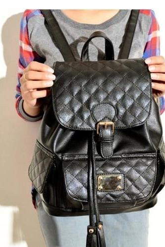 Black Plaid Design Backpack